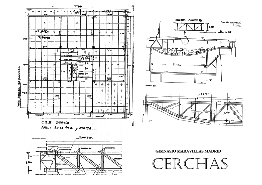 Gimnasio del colegio maravillas de madrid 1962 urban idade - Cerchas metalicas para cubiertas ...
