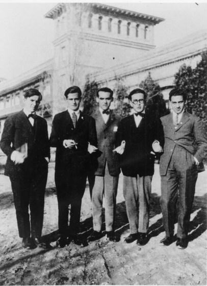José María Hinojosa, Juan Centeno, Federico García Lorca, Emilio Prados y Luis Eaton. Residencia de Estudiantes, Madrid, 1924