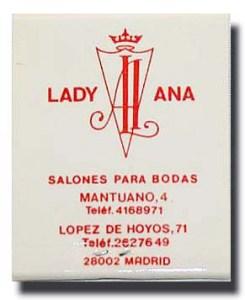 Cerillas como recordatorio de una boda en Lady Ana, c. 1993.