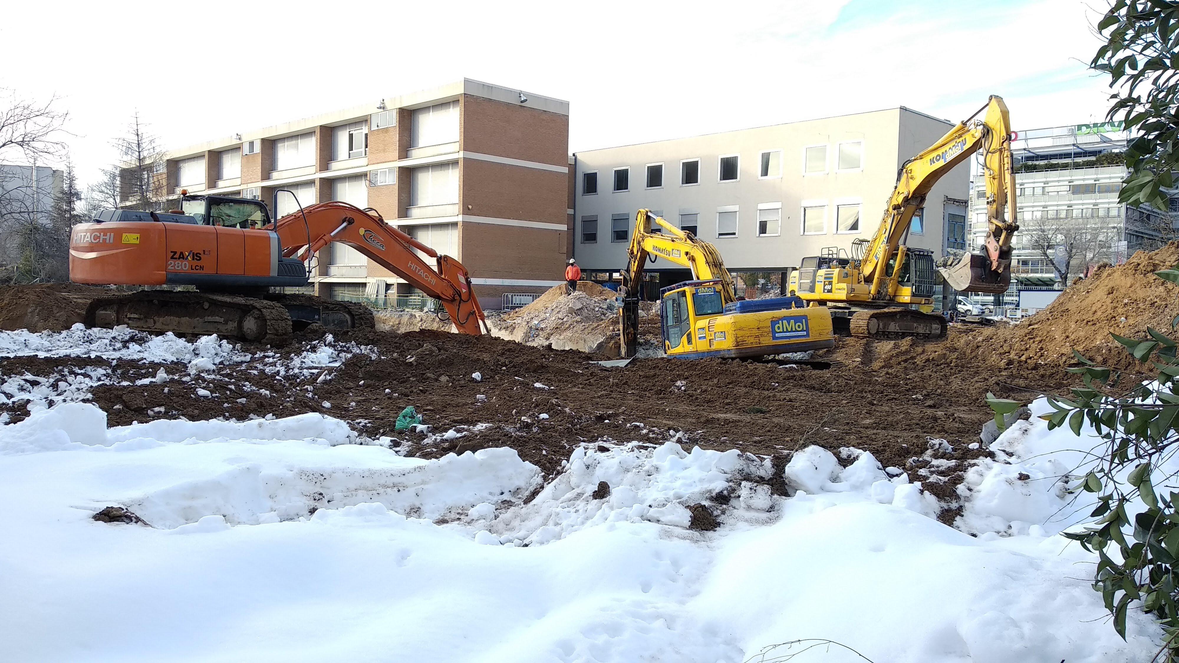 Demolición pebellón meridional del Colegio Alemán de Madrid. Enero de 2021