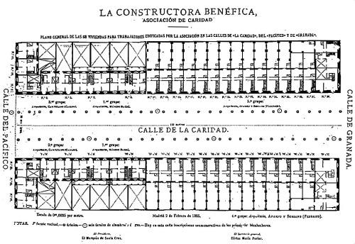 Plano General Viviendas calle Caridad 1885