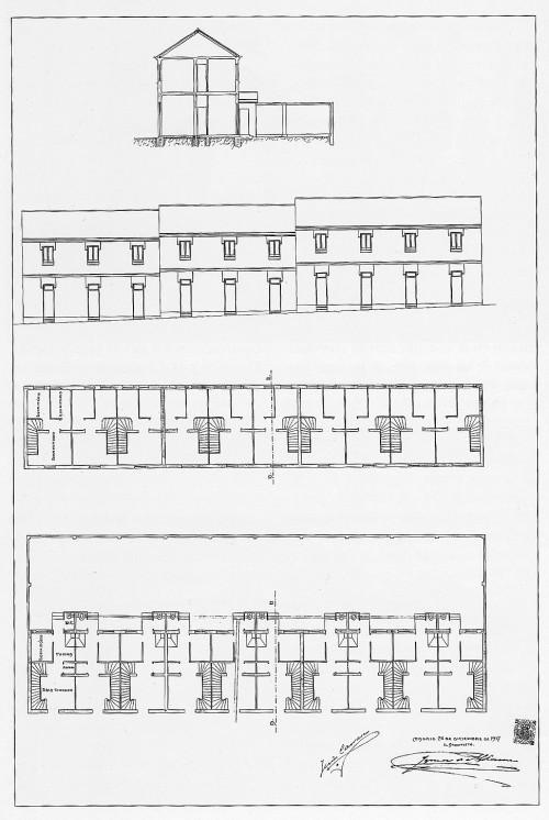 Planta alzado y seccion vivienda 1917